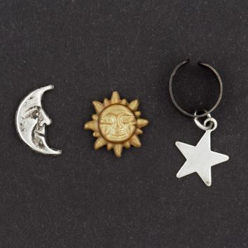 Celestial Sun Moon and Star Earring & Ear Cuff Set (Sterling Silver Posts)