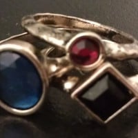Bohemian Blue, Red, and Black Layered / Stackable Rings