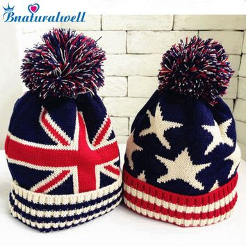 Bnaturalwell Hand Knit Kids Patriotic American Flag Beanie Ages 2-6 Child Patriotic Beanie Hat Children Hand Knitted Cap H095S