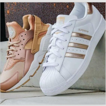 """""""Adidas"""" Fashion Shell-toe Flats Sneakers Sport Shoes White Golden"""