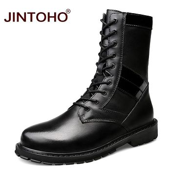 Men Genuine Leather Shoes Winter Men Boots Mid-Calf Motorcycle Boots Leather Male Boots Snow Winter Shoes
