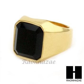 MEN STAINLESS STEEL HIP HOP 14K GOLD PLTED BLACK ONYX RING 8-12 SR030CL