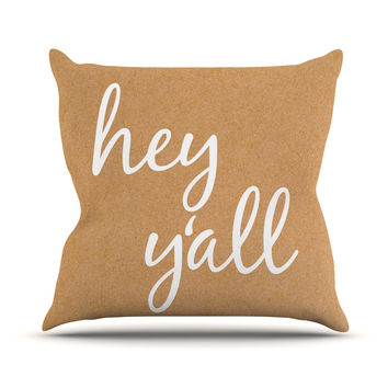 "KESS Original ""Hey Y'all - White"" White Brown Throw Pillow"