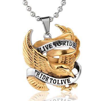 Live To Ride, Ride To Live Stainless Steel Necklace