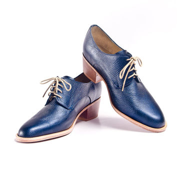 metallic blue derby oxford brogue shoes with cuban heel - FREE WORLDWIDE SHIPPING