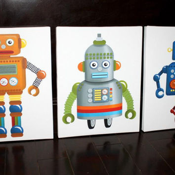 Set of 3 Robot Stretched Canvases Baby Nursery CANVAS Bedroom Wall Art 3CS056