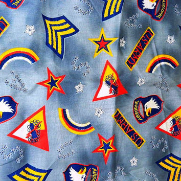 Vintage  Denim Like Fabric, US Army, Stars & Stripes, Airborne, Patches, Medal, Star, Quilting Fabric