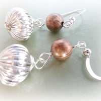 Silver and Copper Earrings, Silver Fluted Dangle Earrings, Mixed Metal Jewelry
