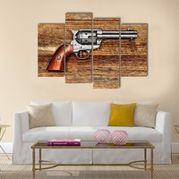 Old Style Revolver Multi Panel Canvas Wall Art
