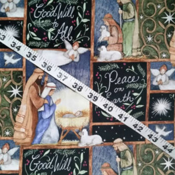 Christmas fabric with jesus Mary Joseph Nativity Peace on Earth cotton print quilt sewing material to sew crafting quilters sewer  BTY 1yd