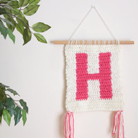 Initial Banner, Nursery Decor, Office Decor, Crochet Wall Hanging, Personalized Baby Gifts, Modern Decor, Wall Art, Crochet Weaving