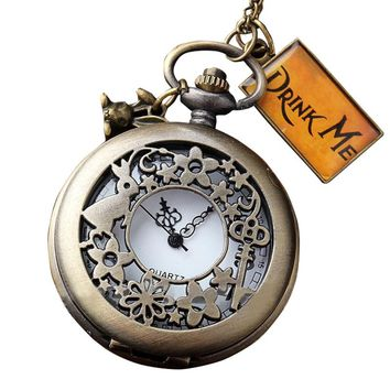 Vintage Retro Hollow DRINK ME Alice In Wonderland Rabbit Quartz Fob Pocket Watch Metal Necklace Chain Pendant Men Women Clock