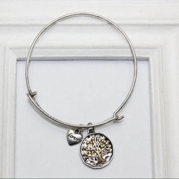 Alex and Ani style tree pattern pendant charm bracelet,a perfect gift !