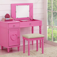 2 pc Angelica collection pink finish wood make up bedroom vanity set with storage and stool and flip up mirror