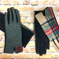Monogrammed Tech Gloves - Herringbone and Plaid - Driving Gloves, Great Fit for anyone