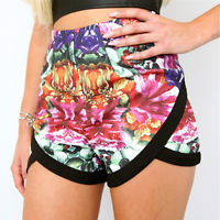 FLORAL BLOSSOM HIGH WAISTED CROSSOVER WRAP SHORTS 6 8 10 12
