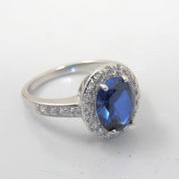 Sterling Silver CZ Sapphire Ring, Oval Sapphire CZ Diamond Kate Middleton Style Engagement Ring, Size 8