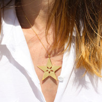 Star Within A Star Necklace - Star pendant, Gold star necklace, Silver star necklace, Star jewelry, Unique necklace, gift ideas, star charm