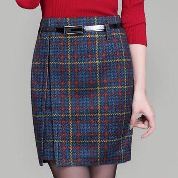MDIGCI7 women Woolen skirts 2016 autumn and winter new lady high waist skirt female mini skirt fashion plaid skirts plus size 4XL