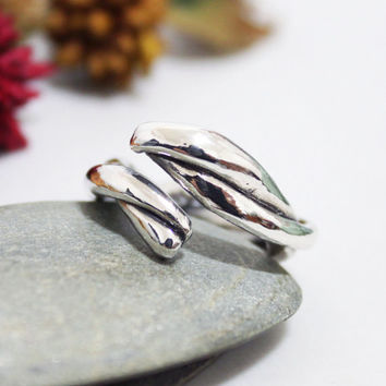 Chunky Twist Sterling Silver Ring/ Bold Twist Ring/ Unisex Ring/ Rustic Ring