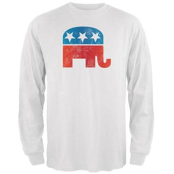 DCCKIS3 Distressed Republican Elephant Logo White Adult Long Sleeve T-Shirt