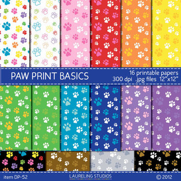 paw print digital paper, digital scrapbook paw prints, paw print clip art, digital pet paper ,pets, dogs, cats, paw prints, dp52