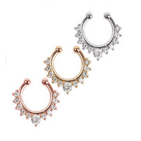 New Arrival Crystal Nose Ring Fake Septum Piercing Hanger Clip On Body Jewelry Nose Hoop