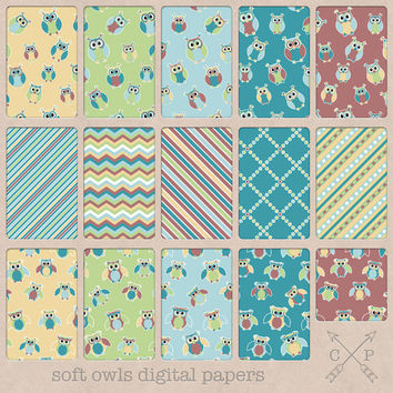 Teal blue green yellow and red owl digital papers pack.Backgrounds, digital scrapbooking, collage, or web design etc. includes owls, chevron