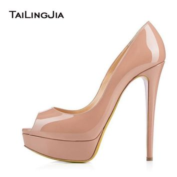 Women Pumps 2017 Nude Platform Heels Peep Toe Extreme High Heel Shoes Sexy Ladies Platforms White Wedding Shoes Party Heels