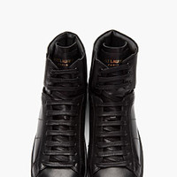 Saint Laurent Black Leather Classic High-top Sneakers for women | SSENSE