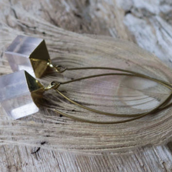 Quartz Cube earrings, clear crystal, square, pendant, drop earrings, indie jewelry, electroplated, gold, made in canada, cubist, mineral