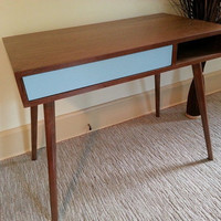 Mid Century Walnut Desk With Colored Drawer.  Minimalist/Modern/Mid Century Design. 100% Solid Wood. Custom Sizes Available