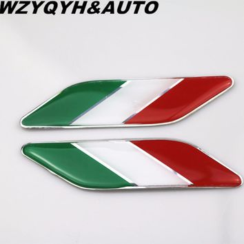 2pcs Car styling 3D PVC+Aluminum alloy Car Stickers Italian Italy Flag badge Badge Emblems Decal Decor for fiat Alfa Romeo