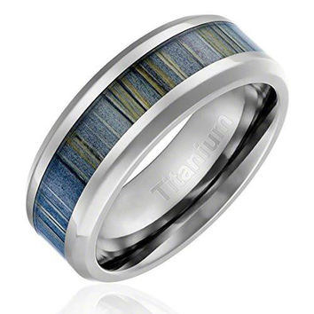 8MM Titanium Ring Wedding Band Black and Gray Zebra Wood Inlay Beveled Edges | FREE ENGRAVING