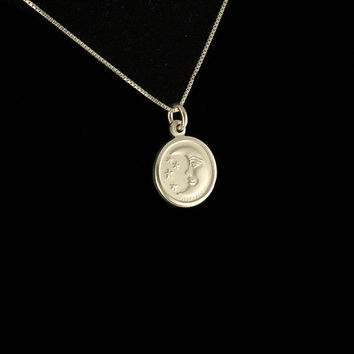 Sterling Silver Moon Face necklace charm by Silversmith925 on Etsy