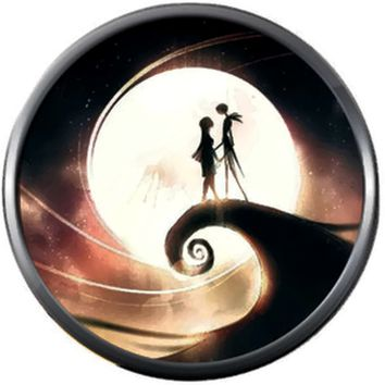 Sunset Jack And Sally On Spiral Hill Halloween Town Nightmare Before Christmas Jack Skellington 18MM - 20MM Charm for Snap Jewelry New Item