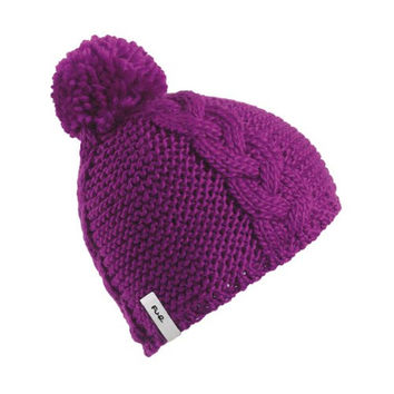 FU-R Headwear - Women's K-Pow, Fleece Lined Wool Knit Pom Hat, Bright Fuchsia