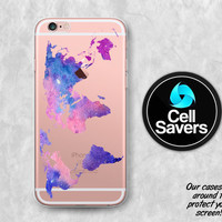 World Map Clear iPhone 6s Case iPhone 6 Case iPhone 6 Plus Case iPhone 6s Plus iPhone 5c Case iPhone 5 Clear Case Watercolor Map Pink Cute