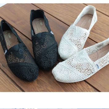 a80d11c64bd TOMS Natural Crochet Classics Flats Fashion hollow Summer Sexy Loose Shoes  black