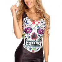 Skull Floral Print Sexy Bodycon Dress