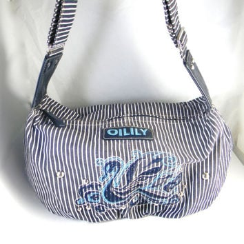 Vintage Oilily Bag - striped blue and white canvas , embroidery and leather accents, diaper bag