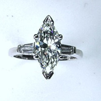 2.84ct F-SI1 Marquise Diamond Engagement Ring Platinum GIA certified JEWELFORME BLUE
