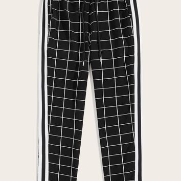 Men Contrast Striped Side Grid Pants