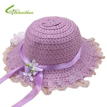 LMF78W 2017 Children Sun Hat Cute Flower Decorate Baby Girls Kids Straw Hats Lovely  Sun Beach Caps For Summer 5 Colors For Choose