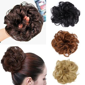 Women's Tiara Satin Curly Messy Bun Hair Twirl Piece Band Rope Scrunchie Wigs Extensions Hairdressing 16 Colors Hot Selling
