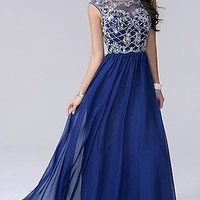 Sleeveless Nina Cannaci Long Open Back Prom Dress