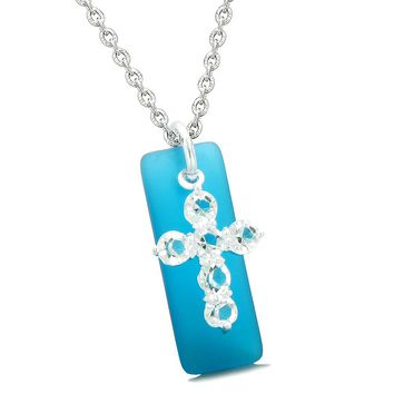 Sea Glass Cobalt Blue Tag Adorable Crystal Cross Protection Positive Powers Amulet 22 Inch Necklace