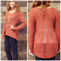 Birchwood Hills Rust V-Neck Sweater