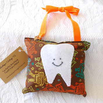 Boys Tooth Fairy Pillow in Brown and Orange by BoutiqueVintage72