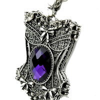 Purple Stone Corset Gothic Necklace Design